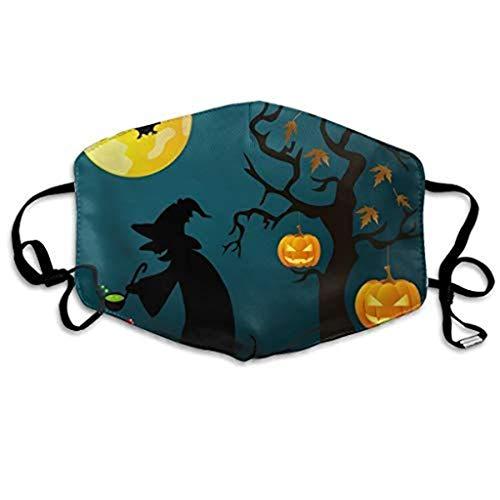 Halloween Fledermaus Haunted House Print Mund- und Nasenschutz Baumwolle Gummiband Staubdichtes Mehrzweckgewebe Bandana(A)