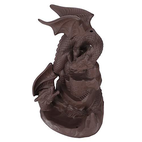 Fydun Quemador de Incienso de reflujo, Estatua de dragón, Quemador de Cono de Incienso de Cascada de Arena púrpura para el hogar, Oficina, Adorno de decoración de Yoga