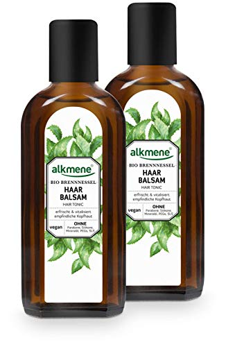 alkmene Haarbalsam mit Bio Brennnessel - Haarwasser mit Provitamin B5 für empfindliche Kopfhaut & feines Haar - Haarpflege vegan ohne Silikon, Parabene, Mineralöl, SLS & SLES im 2er Pack (2x 250 ml)
