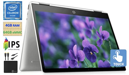 2021 Premium HP X360 Chromebook 12  HD+ IPS Touchscreen 2-in-1 Laptop Computer, Intel Celeron N4020 Processor(Up to 2.8GHz), 4GB DDR4 64GB eMMC, Bluetooth 5.0, Webcam Chrome OS, w Marxsol Cables
