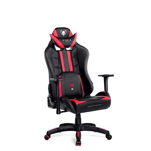 Diablo X-Ray Gaming Stuhl Bürostuhl Kinderstuhl Schreibtischstuhl 4D Armlehnen Ergonomisches Design Kunstleder Perforation Wippfunktion (schwarz-rot, Kindergröße)