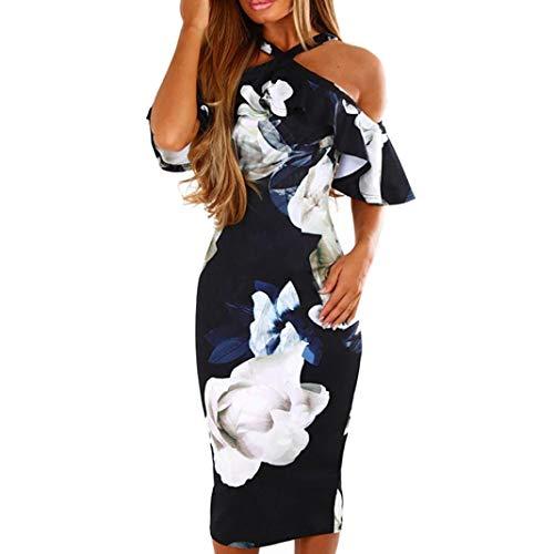 Damen Sommerkleider,Lässiger Blumendruck Ärmelloses Rückenfrei Langes Dress Damen Sexy Partykleid Cocktailkleid Minikleid Abendkleider Elegante Kleider