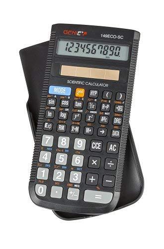 Genie 149 ECO SC technisch-wetenschappelijke rekenmachine op zonne-energie (149 functies, 10-cijferig display, incl. beschermdeksel) zwart