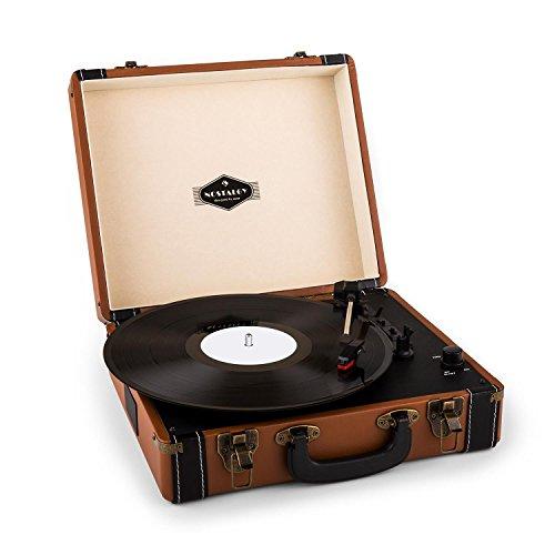 auna Jerry Lee, Plattenspieler, Schallplattenspieler, Riemenantrieb, Stereo-Lautsprecher, USB-Anschluss zum Digitalisieren, 3 Geschwindigkeiten, 33, 45, 78 U min. 3 Plattengrößen, braun