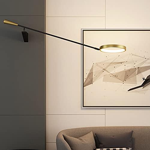Antiguo Poste Largo Aplique Pared Regulable Industrial Vintage Largo Oscilante Brazo Ajustable LED Lámpara de Pared Temperatura de 3 Colores 3000K-6000K para Dormitorio Estudio Luminaria de Aluminio