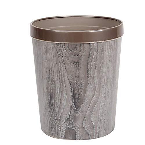 Cttiuliljt Trash Can, Durable Müll mit Holzmaserung ohne Abdeckung mit Druckring Retro Trash Can (grau)