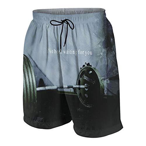 MAYBELOST Pantalones Cortos de Playa para Hombre,Musculación Gimnasio Barbell,Trajes de baño de Secado rápido Trajes de baño con Forro de Malla y Bolsillos