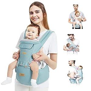 TOPERSUN 12 en 1 Mochila Portabebés con Asiento Portador de Bebé Fácil de Usar Ajustable Algodón Ligero y Transpirable