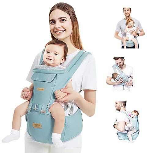 TOPERSUN Babytrage All In One Kindertrage Bauchtrage 12 Positionen Rückentrage Ergonomische Babytragetasche Baby Trage verstellbar für Neugeborene Babys Kleinkind von 0 bis 36 kg Blau