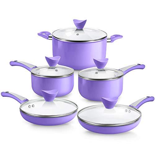 SHINEURI Pots & Pans Set 10 Pieces Cookware Set, 8inch Fry Pan, 9inch Omelet, 5.qt Stockpot, 1qt 2 qt Saucepan - for Induction, Gas, Electric, Stovetop(Purple, 10PCS)