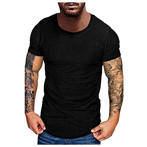 T-Shirt Herren Sommer Slubby Baumwolle Lässige Sport Fitness Rundhals Kurzarm T Shirts Männer Sportshirt Hemd T Shirt Sweatshirt Kurzarmshirt Top