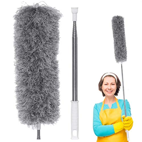 Microfiber Dusters, LIUMY Feather Duster with Extra Long Extension Pole (30-100 inches), Bendable & Extendable Duster for Cleaning High Ceiling, Ceiling Fan, Blinds, Cobwebs, Furniture, Cars