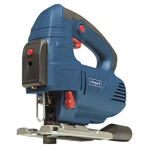 SCHEPPACH JS810 Stichsäge mit Laser (Säge 810W, 4-stufiger Pendelhub,19.5 Hubhöhe, 0-2900SMP, beide Richtigung 45° Kippen) inkl. 6x Sägeblatt Holz und Mettal, Inbusschlüssel