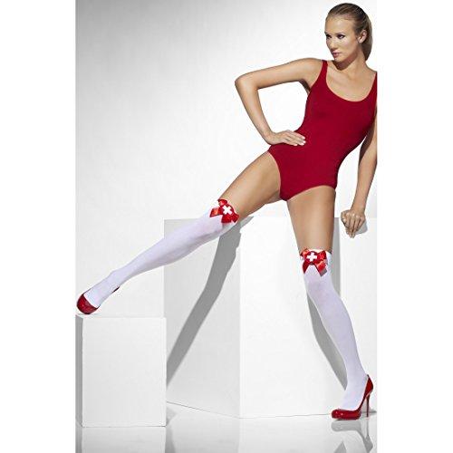 Amakando Medias por encima de la rodilla para enfermeras, medias, sin soporte, para disfraz de carnaval, para mujer, sexy, por encima de la rodilla, crucifijo