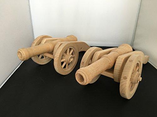 Lot de 2 Superbes canons des Guerres Napoléoniennes - en Bois sur roulettes - Artisanat Véritable