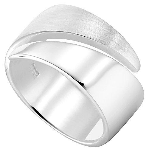 Vinani Ring Design Bandring massiv glänzend mattiert anpassbar Sterling Silber 925 Größe 54 (17.2) 2RSR-54