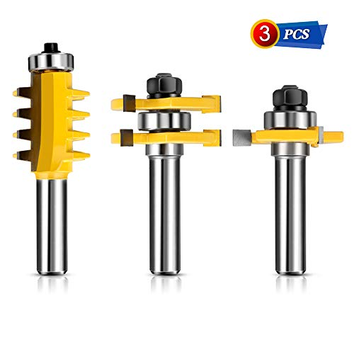 Router Bit Set Tongue Groove 1/2 Inch Shank with Reversible Finger Joint Router Bit - Woodworking Chisel Cutter Milling Cutter Easy Operation for Doors, Tables, Shelves, Walls, DIY Woodwork 3PCS