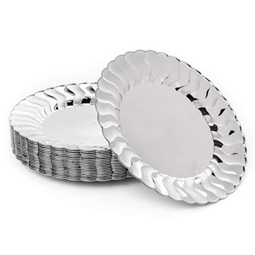 Matana 20 Platos Plateados de Plástico Duro, Piatti da Festa, 22.5cm - Elegante, Resistente y Reutilizable.