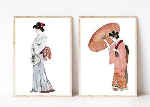 Din A4 Kunstdruck 2-teilig ungerahmt - Geishas Kimonos Geisha Schirm Japan Asien Aquarell Blau Rot Druck Poster Bild