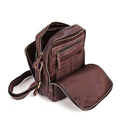 BAIGIO Sac à bandoulière pour hommes, petit sac à bandoulière en cuir Sacs de messager vintage Sacoche décontractée