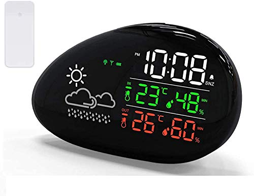 Tinzzi Wireless wetterstationen with Outdoor Sensor, digital Thermometer Hygrometer for Indoor and Outdoor use, Alarm Clock and Snooze Function