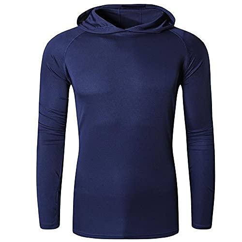 Oversize de los hombres 50+ protección solar al aire libre manga larga camiseta camiseta camiseta playa verano 271 azul claro