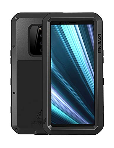 FONREST Ganzkörper Hülle für Sony Xperia 1, Love MEI 6,5-Zoll Schwerlast Hybride Aluminium Metall Stoßfest Schneesicher Staubdicht Hülle mit Hartglas, Unterstützt Wireless Charging (Schwarz)