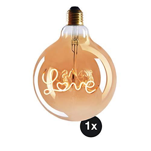 CROWN LED Edison 1x Bombilla LED LOVE – Bombilla E27 – Bombilla LED E27 Regulable – 4W, Blanco Cálido, 230 V, EL27 – Iluminación de Filamento Estilo Retro / Vintage – Calificación Energética A+