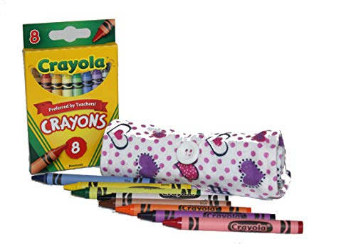 On The Go Crayons Caddy Holder wrap roll up case, Holds 9 to 18 Favorite Colors, Perfect to Keep Your Kids Organized, Inspired, Entertained -8 Crayons Included! USA Handmade (Purple Hearts, Small)