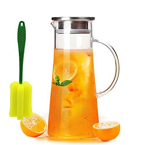 Wasserkaraffe 1.5L, Wasserkrug aus Hitzebeständigem Borosilikatglas mit Deckel aus Edelstahl, Karaffe ,Glaskanne