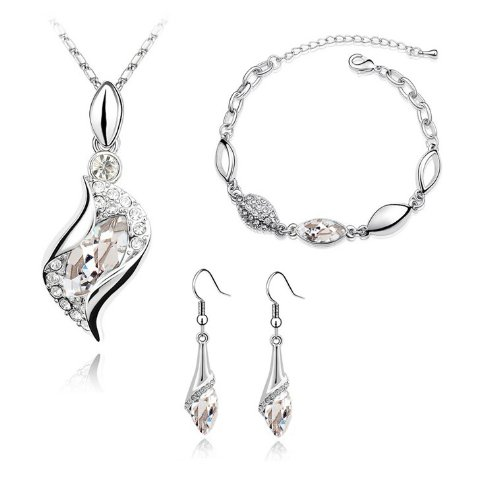 Braut Schmuck-Set Ohrringe Halskette und Armreif Kristall Design Augen-Tropfen Weiß S281