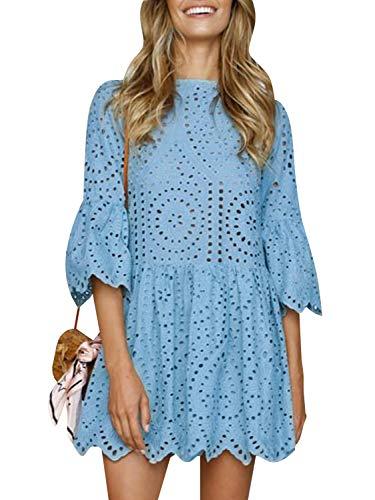BerryGo Women's Casual Cotton Aline Dress Flare Sleeve Loose Mini Dress Light Blue