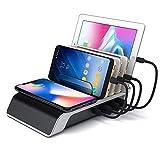 デスクトップ充電QIワイヤレス充電パッド5-In-1マルチチャージャードックオーガナイザースタンド、電話/タブレット/カメラ/ヘッドセット/スピーカー用の4つのUSBポート