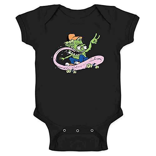 Pop Threads Skateboard Monster Retro Cool Funny Black 6M Infant Baby Boy Girl Bodysuit