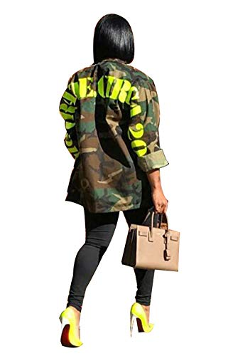 Women's Casual Military Camo Print Lightweight Coat Camouflage Longline Overcoat Safari Jacket Party Clubwear Army Fatigue Jackets M