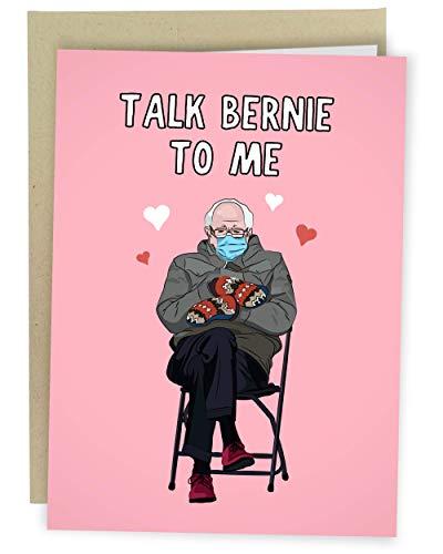 Sleazy Greetings Funny Bernie Sanders Sitting 2021 Inauguration Meme Happy Valentine's Day Card | Funny Anniversary Card | Talk Bernie To Me Card
