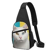ワンショルダーバッグ メンズ 斜めがけ胸バッグ ボディー肩掛けバッグ 小型手提げバッグ 出張 通勤 通学用 猫柄 白
