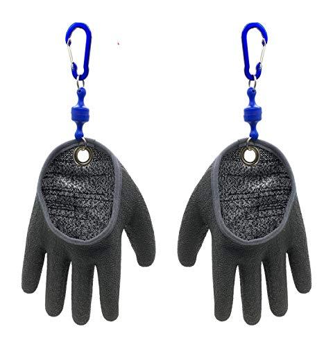 Inf-way Angelhandschuh mit Magnetfreigabe, professionelle Fangfischhandschuhe, schnitt- und durchstichfest, mit Magnethaken, Jagdhandschuh 1 Stück (links + rechts, M)
