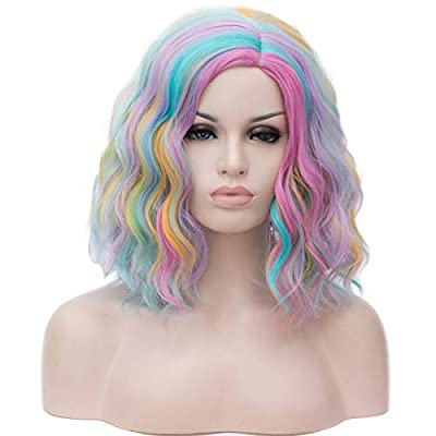 Mildiso Short Bob Wigs for Women Girls Curly Wavy Fashion Cute Synthetic Full Hair Wigs for Party Cosplay Halloween A01Z