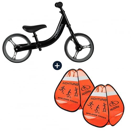 HUDORA Laufrad Classic, schwarz ab 3 Jahren 12 Zoll Reifen mit Safety Pop Up Aufsteller Set Achtung Schild Vorsicht Kinder Kinderlaufrad