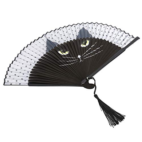 KUIDAMOS Abanico de Gato de Dibujos Animados, Material de bambú, Abanico Plegable de Mano imprescindible para Carnaval o Festival de música,