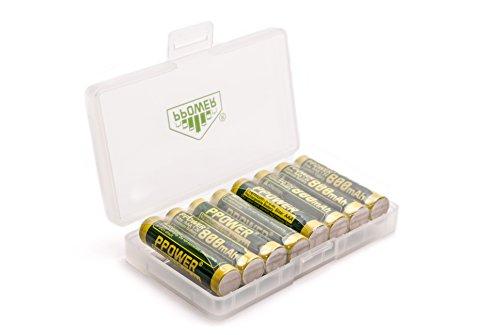 Ppower - 1 caja de almacenamiento con 8 ranuras para pilas alcalinas NiMH NiCd AAA. Para proteger y transportar las pilas (pilas no incluidas)