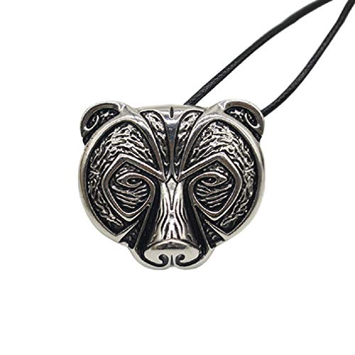 """Bear Necklace for Men, Norse Viking Bear Head Pendant Necklace with 19.7"""" Chain, Celtic Bear Totem Amulet Necklace, Hip Hop Necklace, Punk Animal Bear Jewelry Gift for Men Boys"""