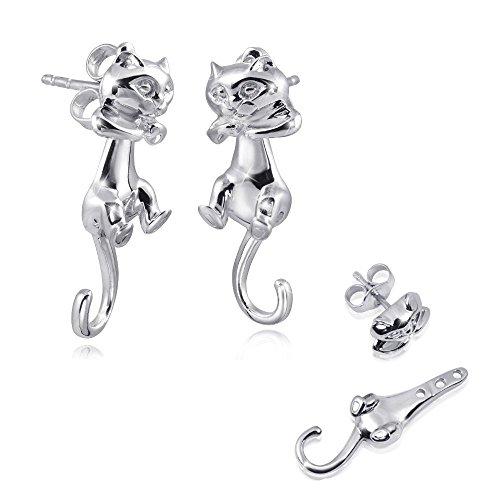 MATERIA 2 in 1 Ohrstecker Katze Silber 925 rhodiniert - Damen Kinder Ohrringe lang Tier mit beweglichem Körper #SO-195