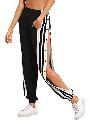 SOLY HUX Damen Hosen Sweatshose Streifen Sweatpants Elastisch Bund Jogginghose mit Taschen, Knöpfe Schwarz M