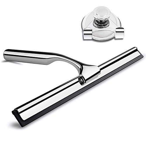 Stainless Steel Shower Squeegee Rubber Wiper - Glass Window Clean Accessories Rustproof Portable Hand Held Cleaning Tool with Matching Suction Cup Hook Holder - Door Tile Wall Bathroom Mirror Kitchen