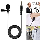 Wallfire 3.5mm Clip On Lapel Microphone Hands Free Wired Condenser Mini Lavalier Mic, Transmitter/Receiver Set with Headset /Lavalier Lapel Mics, Ideal for Teaching, Weddings, Presentations