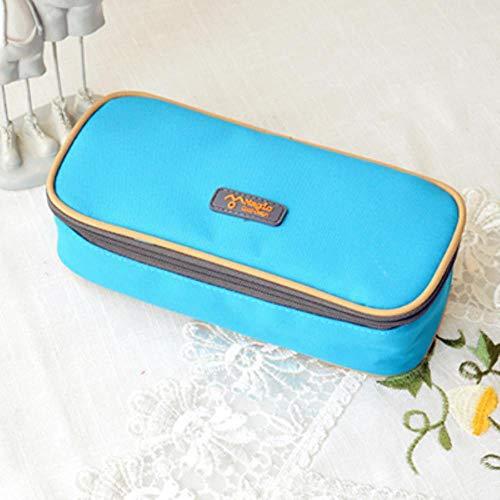 Korea Multifunktions-Schule-Bleistift-Kasten-Beutel-große Kapazitäts-Segeltuch-Feder Vorhang Box für Jungen-Mädchen-Kind-Geschenk-Briefpapier-Versorgungsmaterialien, Blau