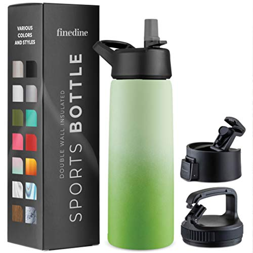 Triple-Insulated Stainless Steel Water Bottle with Straw Lid - Flip-Top Lid - Wide-Mouth Cap (26 oz) Insulated Water Bottles, Keeps Hot and Cold - Great for Hiking & Biking (Dreamy Green)