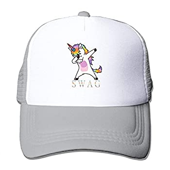 LELE Swag Dabbing Unicorn Trucker Nylon Mesh Cap Printed Unisex Boy Girl Youth Women Men Adult Baseball Hat Grey